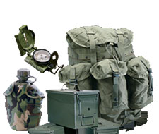 Andy and Bax stocks a full range of military surplus ranging from gas masks to wool blankets, helmets and parachutes